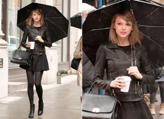 look preto com jaqueta de couro