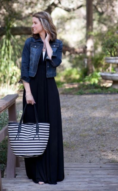 look vestido preto longo
