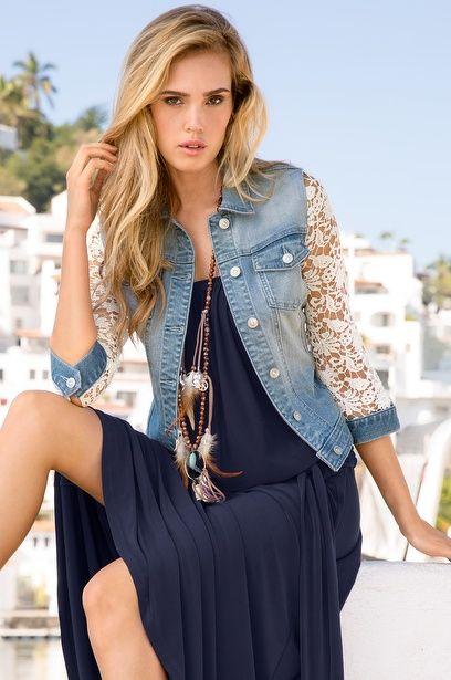 Resultado de imagem para jaqueta jeans feminina e renda