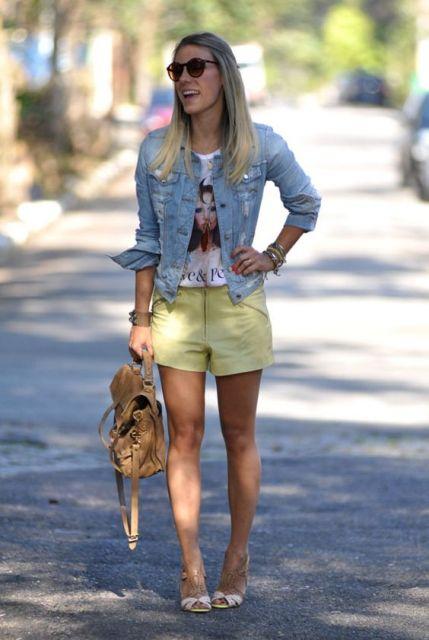 look com short amarelo