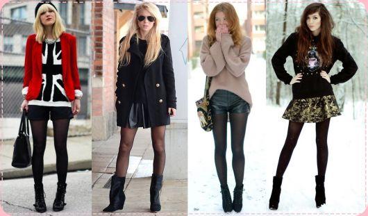 moda inverno com meia calça colorida