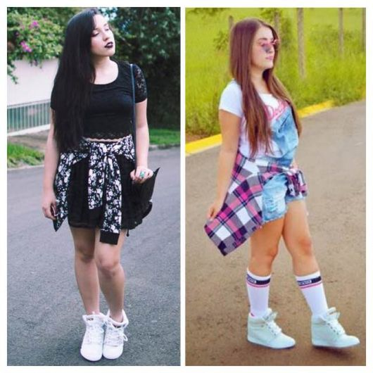 mary jane look com tenis branco