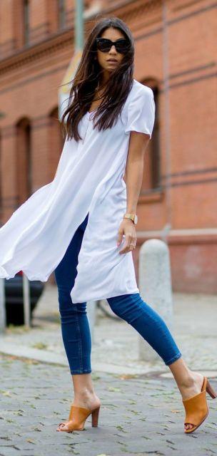 maxi tee com calça jeans skinny