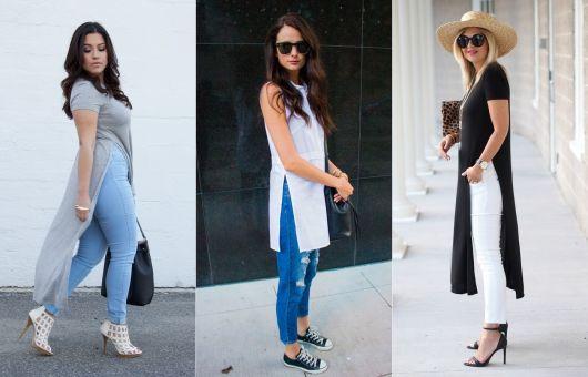 maxi tee com calça jeans