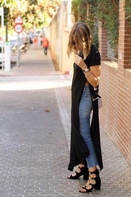 maxi tee com jeans