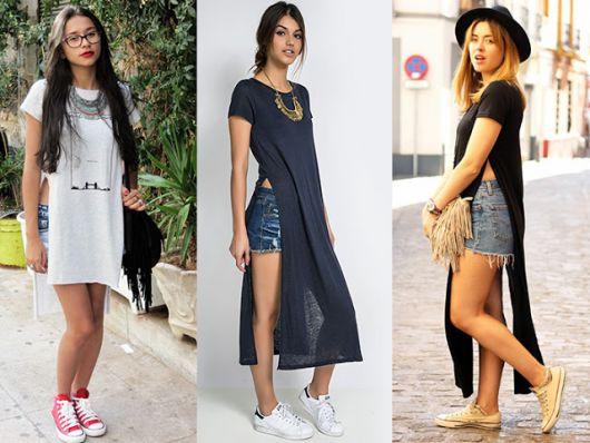 maxi tee com shorts looks