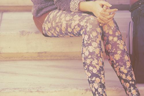 meia calça colorida floral