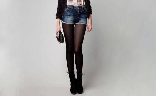 meia calça colorida de cor preta