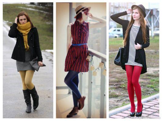 meia calça colorida com vestido