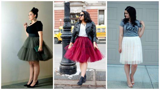 96b8614c0 As gordinhas e plus size também podem se render a essa moda da saia de  tule. E principalmente