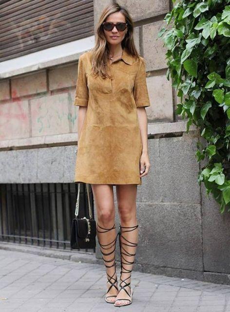 vestido suede