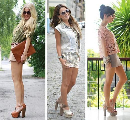 sandália meia pata com shorts e saias