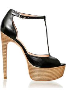 sandália meia pata preta com salto madeira
