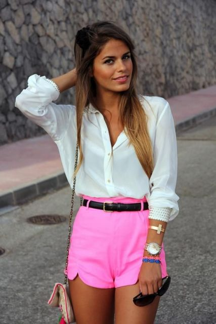 short hot pants - pink
