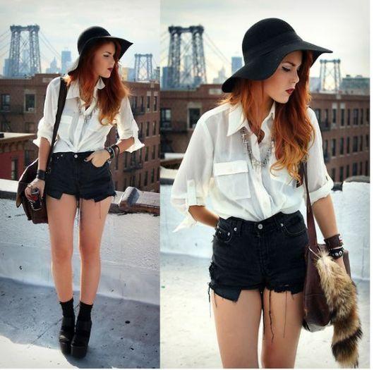 short hot pants preto e branco