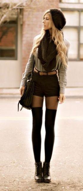 short hot pants preto meia