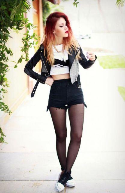 short hot pants preto rockeira