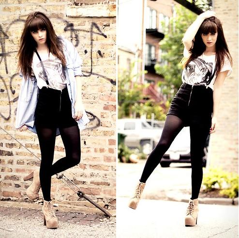 combinar suspensório feminino preto com roupa