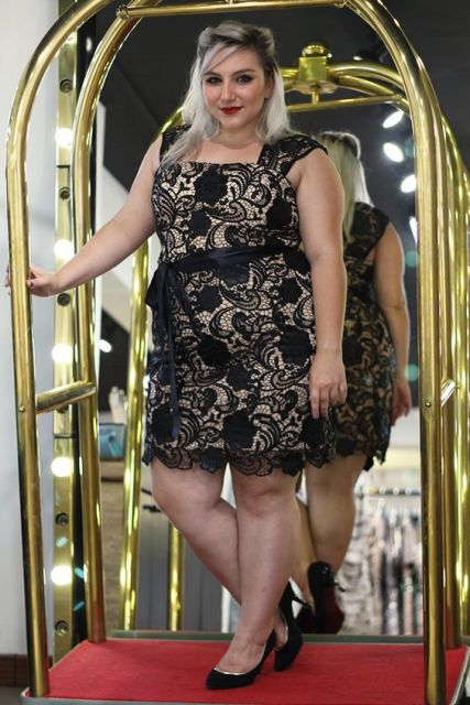 look plus size vestido