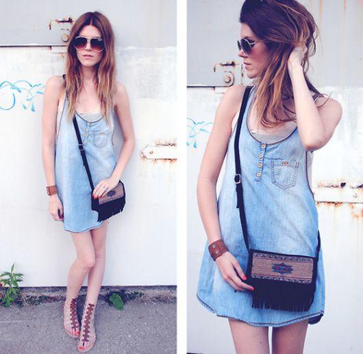 vestido jeans com bolsa