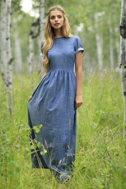 vestido jeans longo princesa
