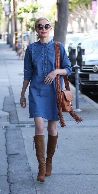 vestido jeans look feminino
