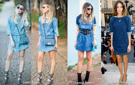 vestido jeans looks famosas