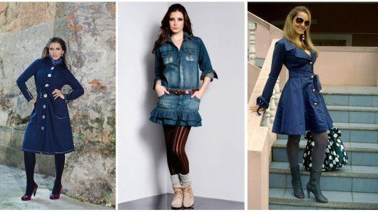 vestido jeans looks para o frio