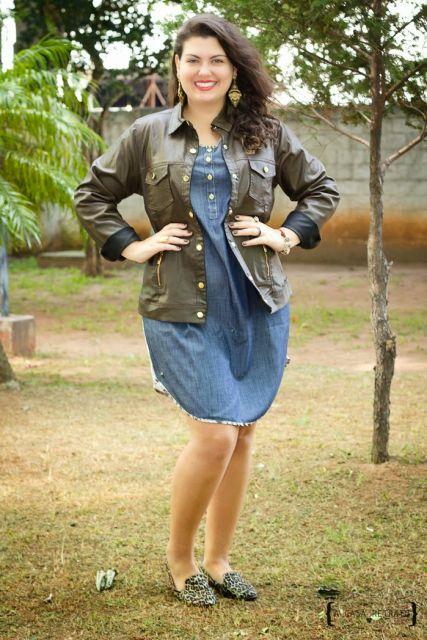 vestido jeans plus size jaqueta