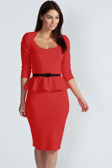 vestido peplum curto vermelho