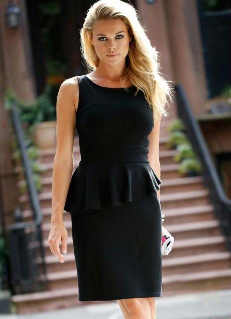 vestido peplum curto preto