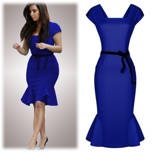 vestido peplum azul