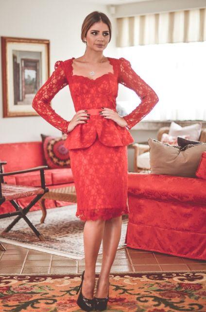 vestido peplum vermelho