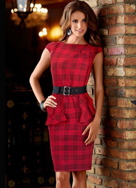 vestido peplum xadrez