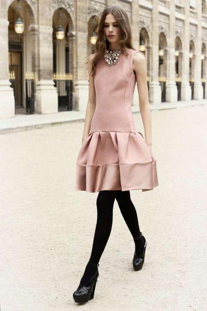 vestido peplum curto rosa