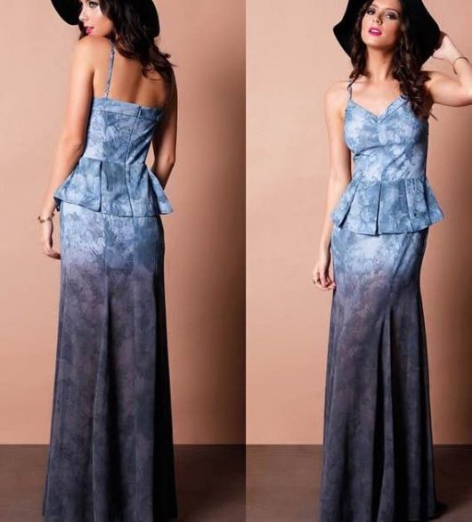 vestido peplum longo azul