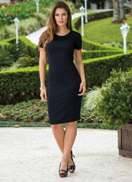 vestido tubinho preto - básico