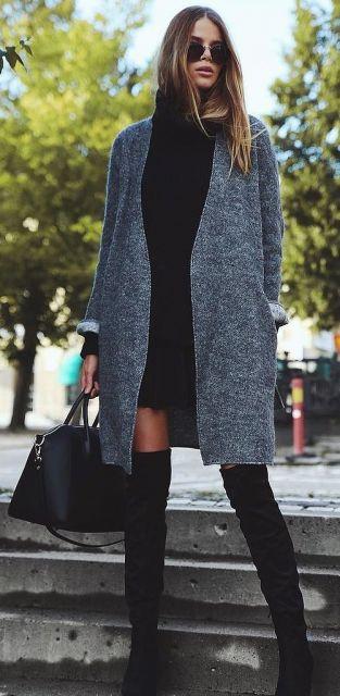 vestido tubinho preto com casaco