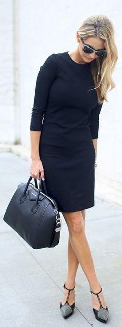 vestido tubinho preto look all black