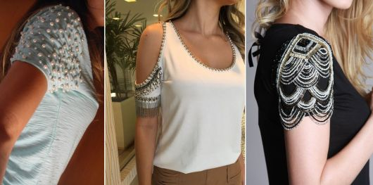modelo de blusa customizada com pedraria