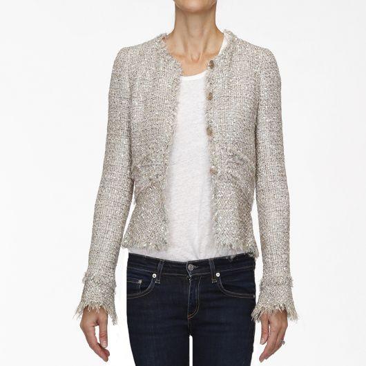 casaco tweed com calça jeans