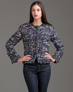 look casual com casaco tweed