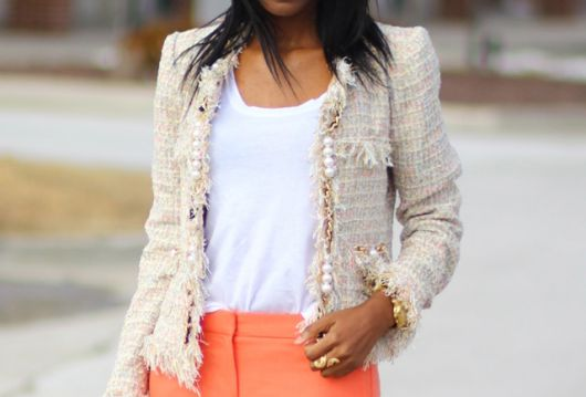 casaco tweed rosa