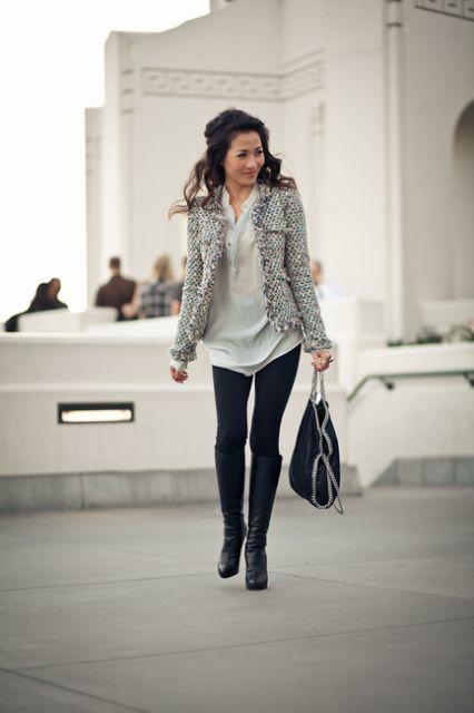 casaco tweed duas cores