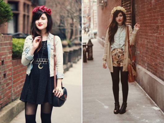 exemplo de como usar coroa e tiara de flores no dia-a-dia