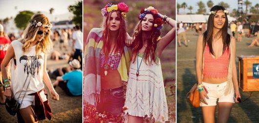 exemplo de como usar coroa e tiara de flores em festivais