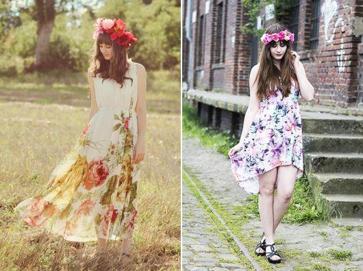 exemplo primavera-verão de como usar coroa e tiara de flores