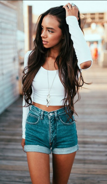 cropped com short jeans