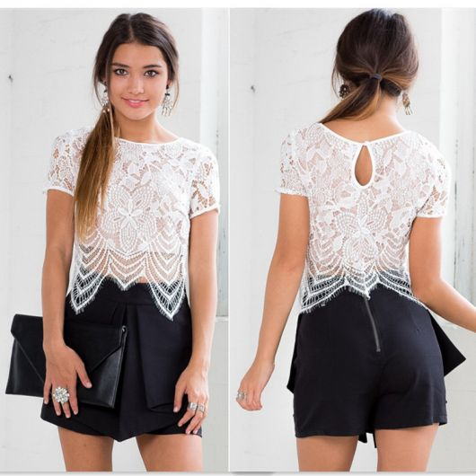 cropped com short saia