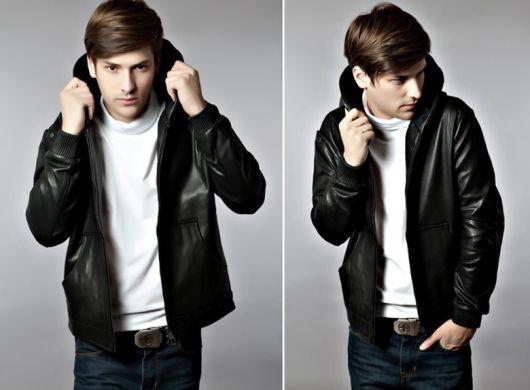 como usar jaqueta de couro com capuz masculina